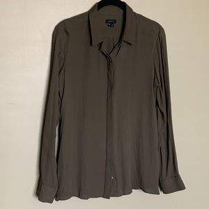 Theory olive silk button up blouse size medium